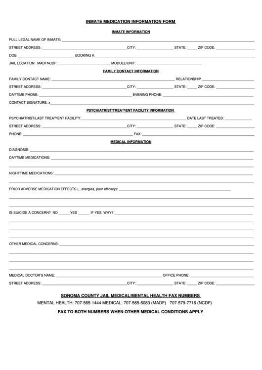 Inmate Medication Information Form