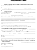 Application For A Temporary Certificate Of Permission To Perform Marriages Form - Nevada