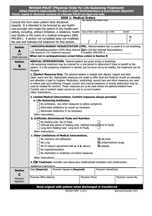 form 111913 nevada polst  physician order for life