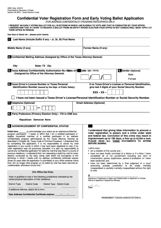 Form Aw5-15(a) Confidential Voter Registration Form And Early Voting Ballot Application
