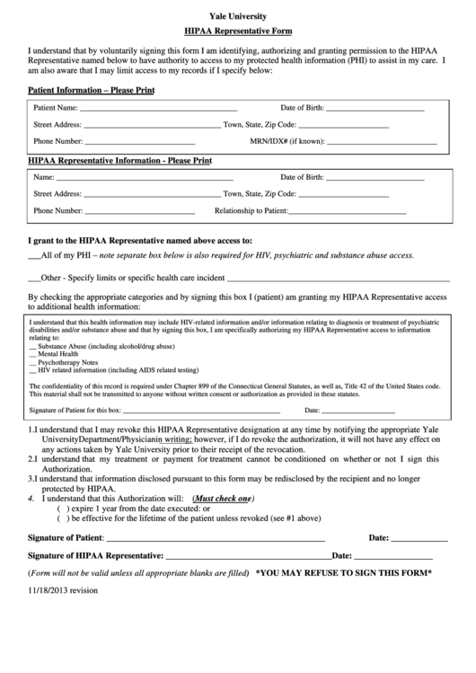 Hipaa Representative Form