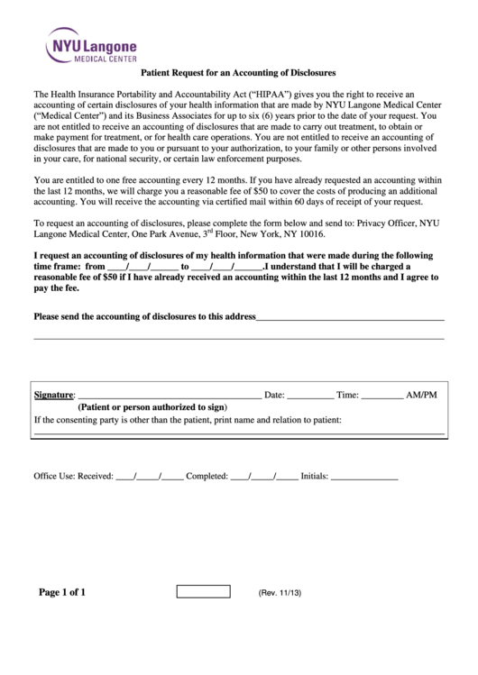 Patient Request For An Accounting Of Disclosures Form