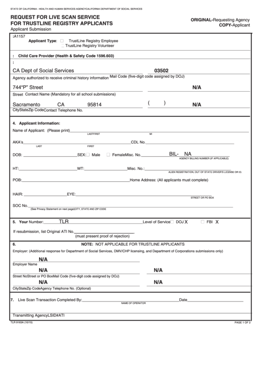 Fillable Form Tlr 9163a - Request For Live Scan Service For