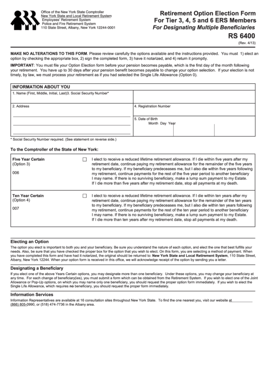 Fillable Form Rs 6400 - Retirement Option Election Form For Tier 3, 4, 5 And 6 Ers Members Printable pdf