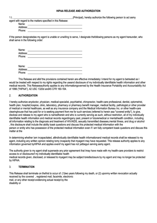 Hipaa Release And Authorization Form
