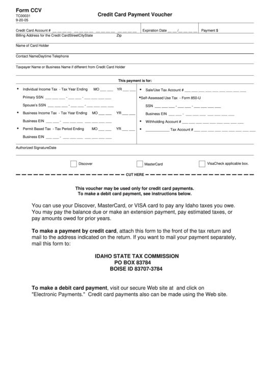 form ccv - credit card payment voucher