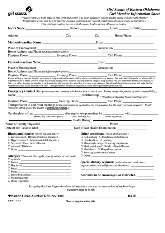 Girl Member Information Sheet - Girl Scouts Of Eastern Oklahoma Printable pdf