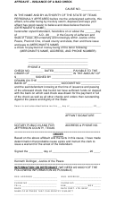 Issuance Of A Bad Check Form - County Of Jefferson