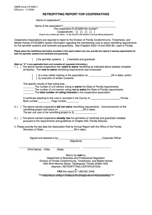 Dbpr Form Cp 6000-1 - Retrofitting Report For Cooperatives