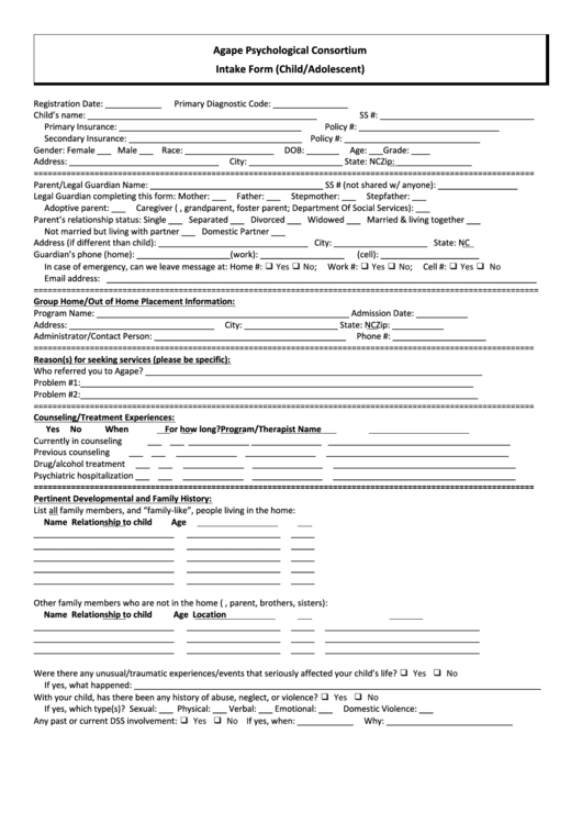 Psychiatric Intake Form Templates Child Adolescent