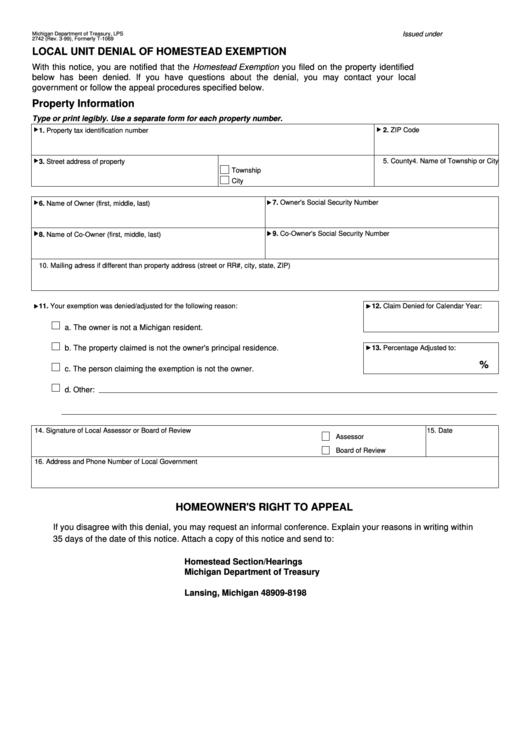 Form - Local Unit Denial Of Homestead Exemption - Michigan ...