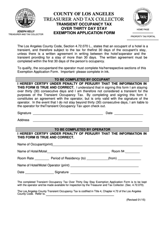 Fillable Transient Occupancy Tax Over Thirty Day Stay Exemption Application Form - Los Angeles County Printable pdf