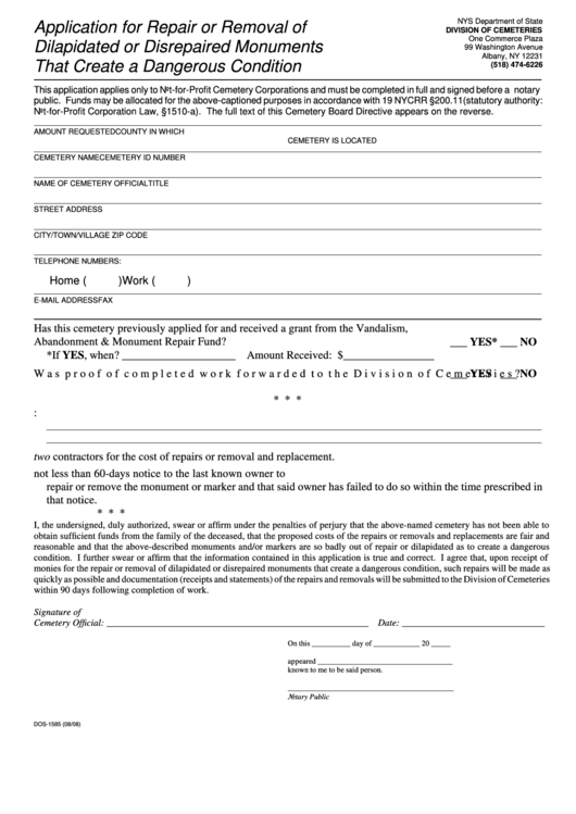 Form Dos-1585 Application For Repair Or Removal Of Dilapidated Or Disrepaired Monuments That Create A Dangerous Condition