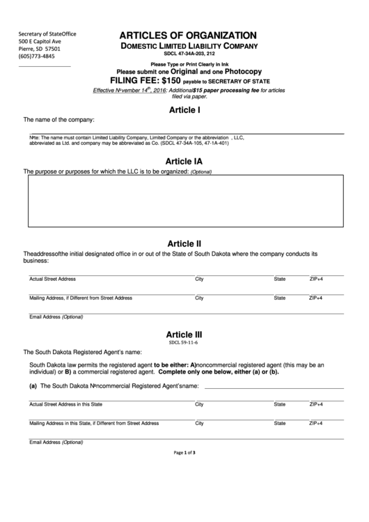Articles Of Organization Form
