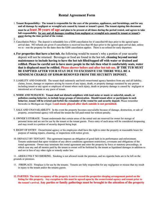 Rental Agreement Form - Waya Rentals printable pdf download