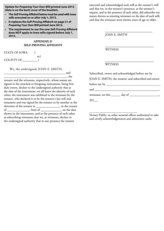 Appendix D Self-proving Affidavit Template printable pdf download