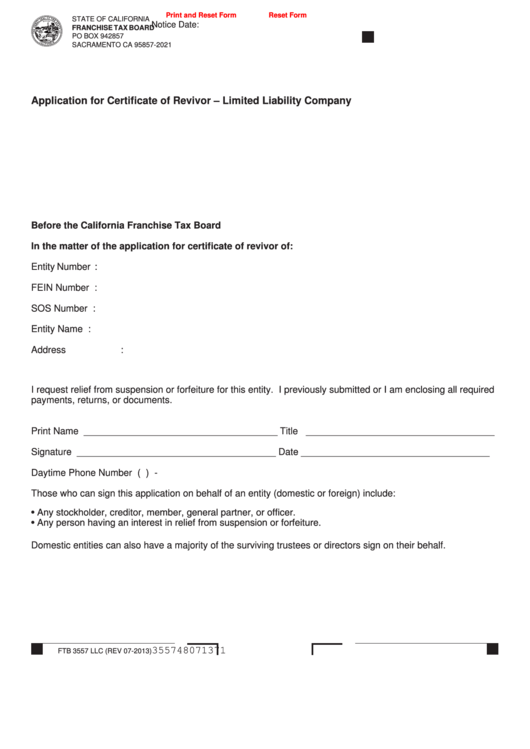 Fillable Form Ftb 3557 Llc - Application For Certificate Of Revivor - Limited Liability Company