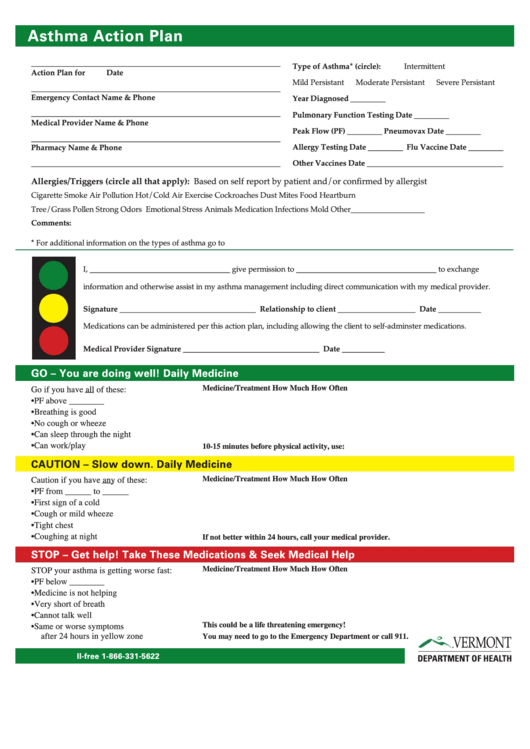 Top 27 Asthma Action Plan Form Templates Free To Download In Pdf
