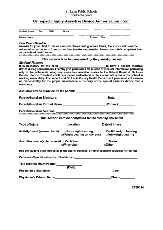 Form Sts0144 Orthopedic Injury Assistive Device Authorization Form Printable pdf