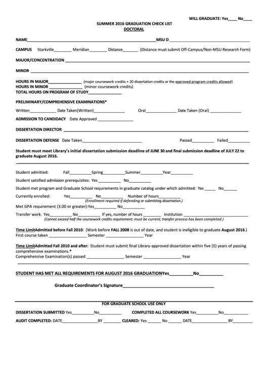 Doctoral Graduation Check List Template