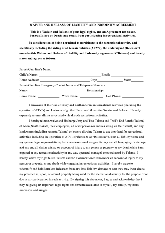 Waiver And Release Of Liability And Indemnity Agreement Form