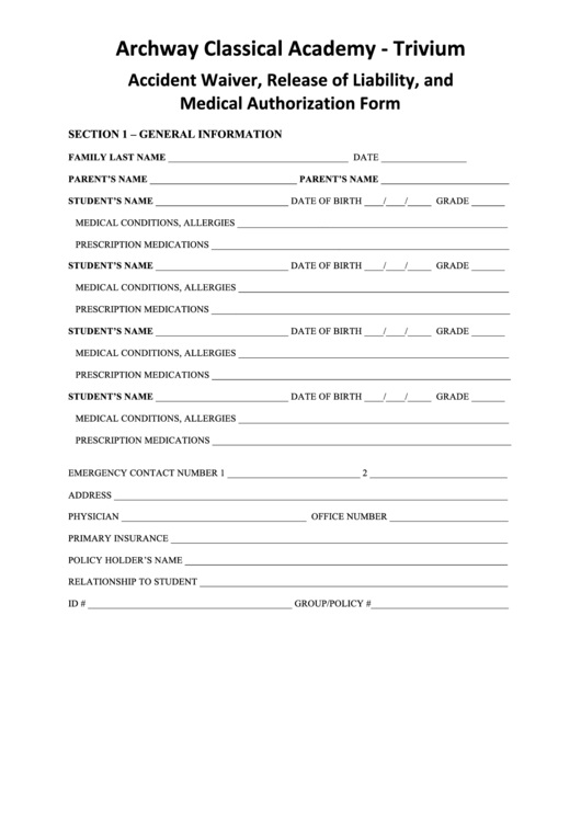 Medical Authorization Form Printable pdf