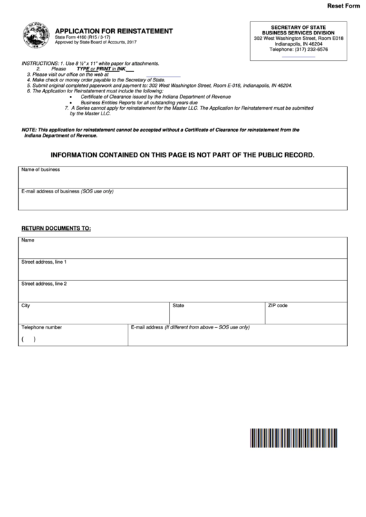 State Form 4160 - Application For Reinstatement