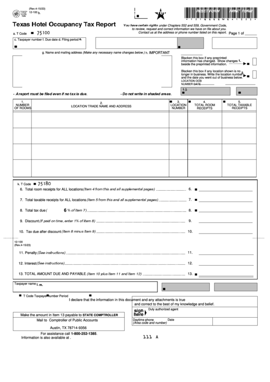 Texas Hotel Occupancy Tax Report Form printable pdf download