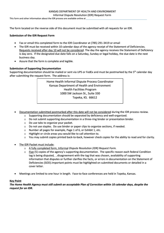 Informal Dispute Resolution (idr) Request Form - Kansas Department ...