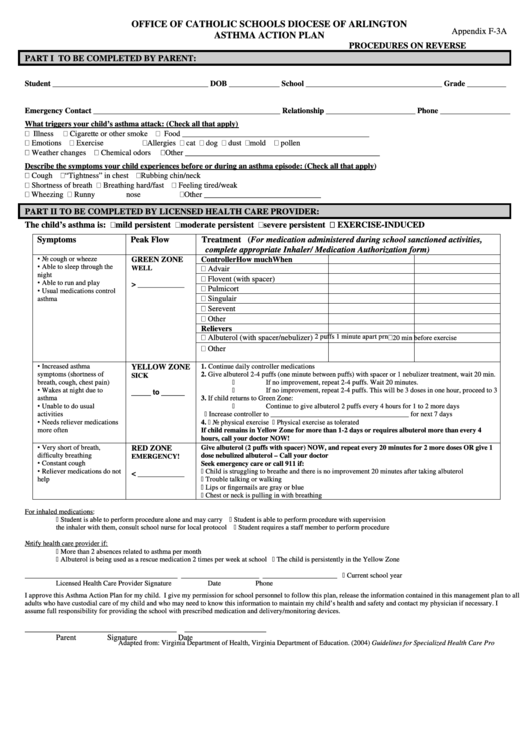 Form appendix f 3a office of catholic schools diocese of for Asthma care plan template