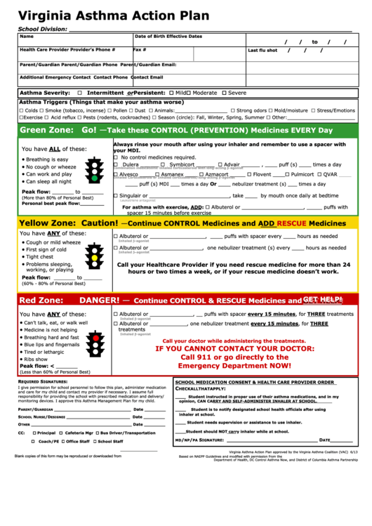 Top 33 asthma action plan form templates free to download for Asthma care plan template