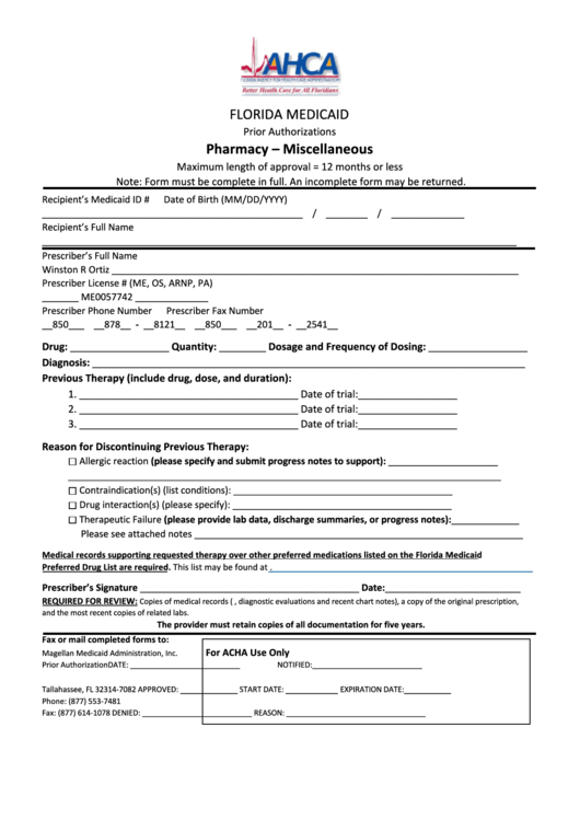 Pharmacy   Miscellaneous Form