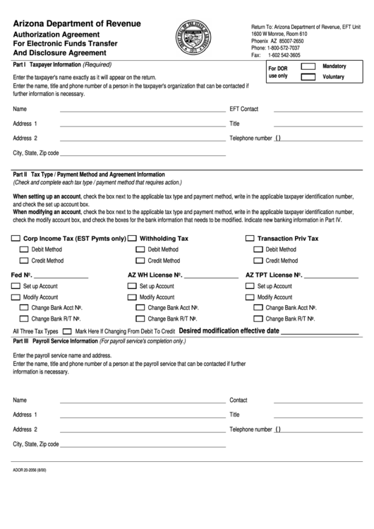 Form Ador 20-2056 - Authorization Agreement For Electronic Funds Transfer And Disclosure Agreement Printable pdf