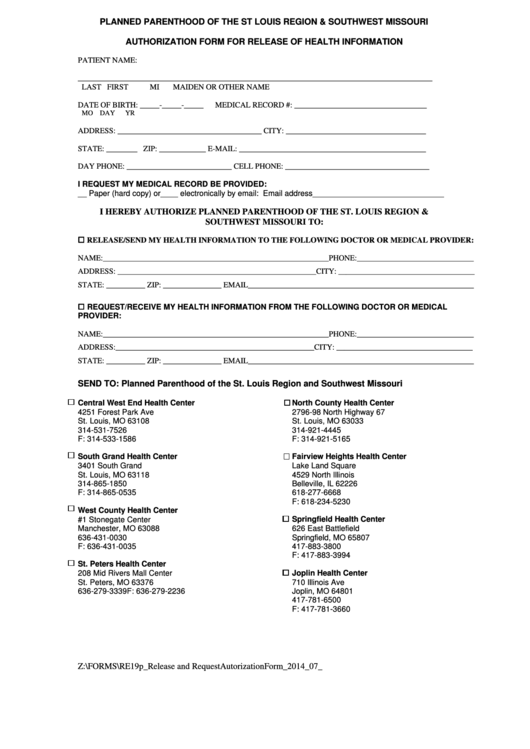 Authorization Form For Release Of Health Information Form - Planned Parenthood Of The St Louis Region & Southwest Missouri Printable pdf