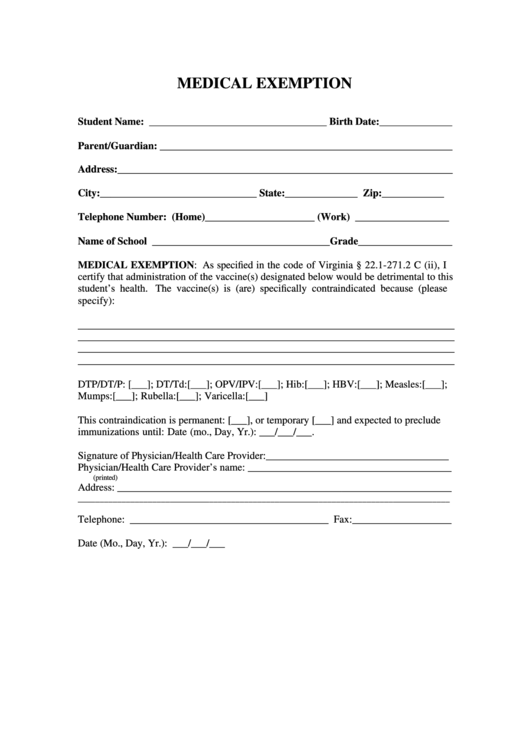 Medical Exemption Form Printable Pdf Download