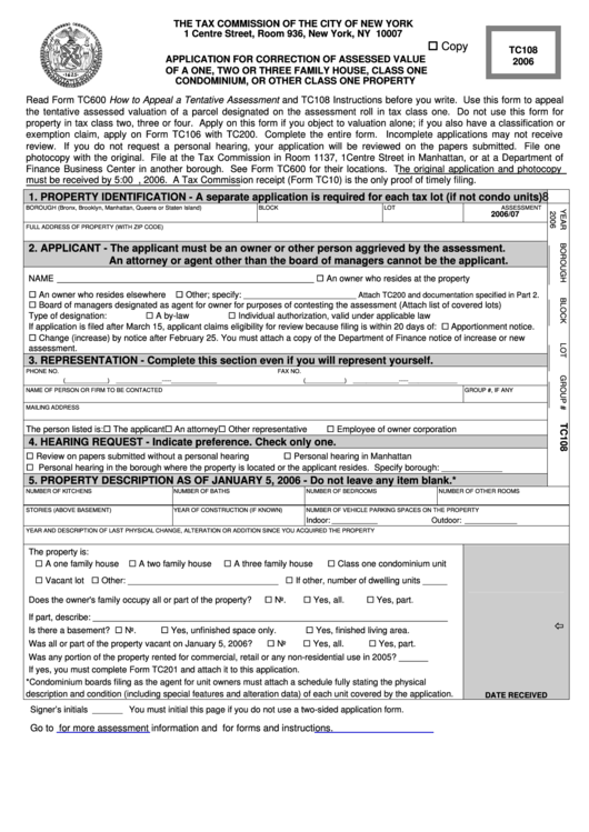 Form Tc108 - Application For Correction Of Assessed Value 2006 Of A One, Two Or Three Family House, Class One Condominium, Or Other Class One Property - 2006 Printable pdf