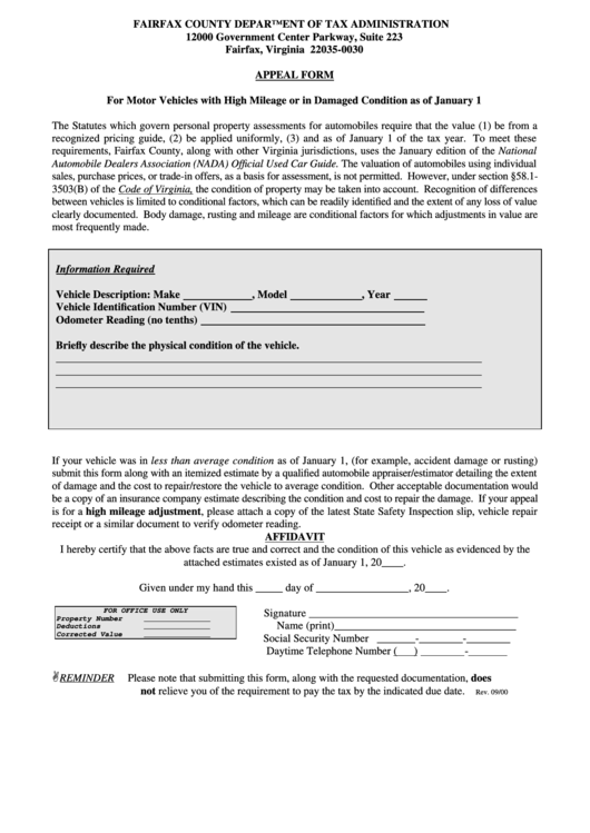 Fairfax County Car Tax >> Appeal Form - Fairfax County Department Of Tax Administration printable pdf download