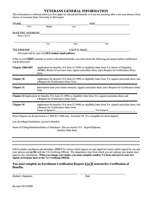 Fillable Veterans General Information Form (Educational Benefits