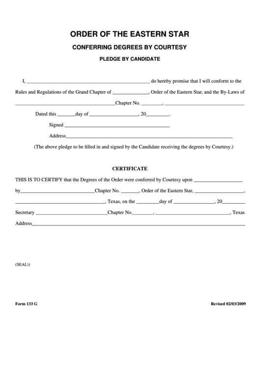 fillable form 133 g