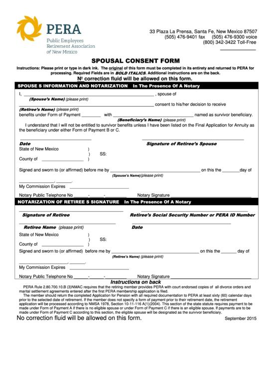 Spousal Consent Form - Public Employees Retirement Association Of Nm