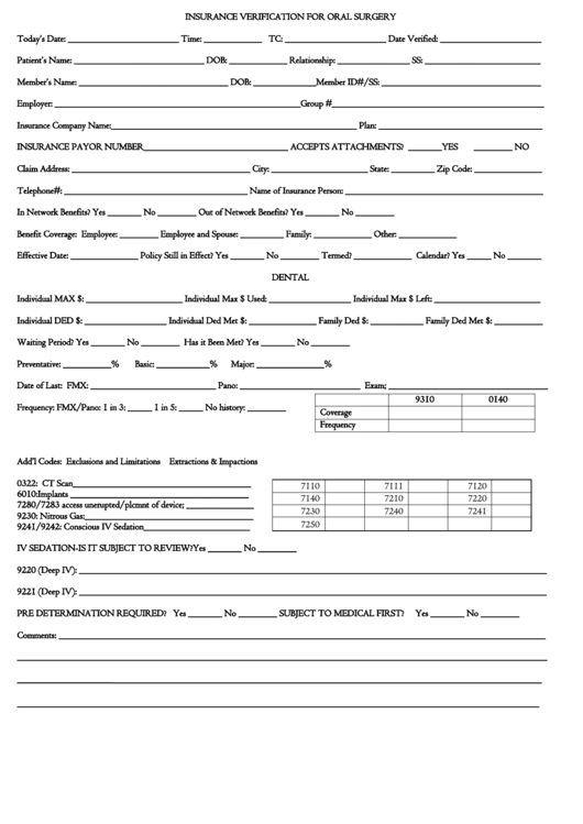 Fillable Insurance Verification Form For Oral Surgery ...