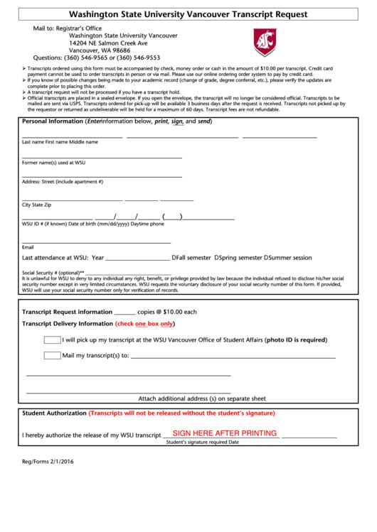Transcript Request Form - Washington State University