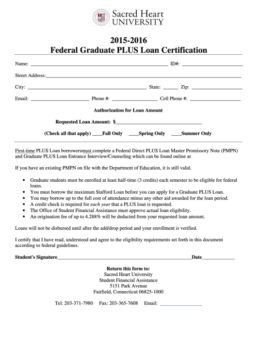 Federal Graduate Plus Loan Certification Form