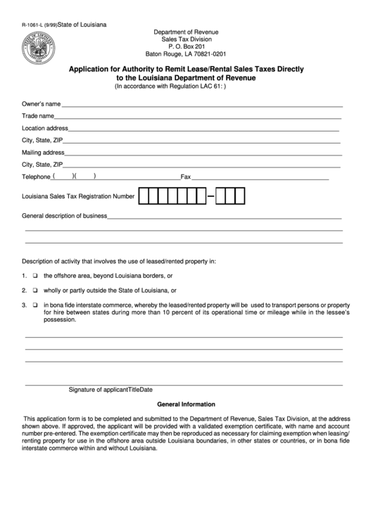 Form R-1061-l - Application For Authority To Remit Lease/rental ...