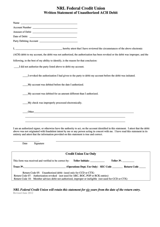 Fillable Written Statement Of Unauthorized Ach Debit Form Printable pdf