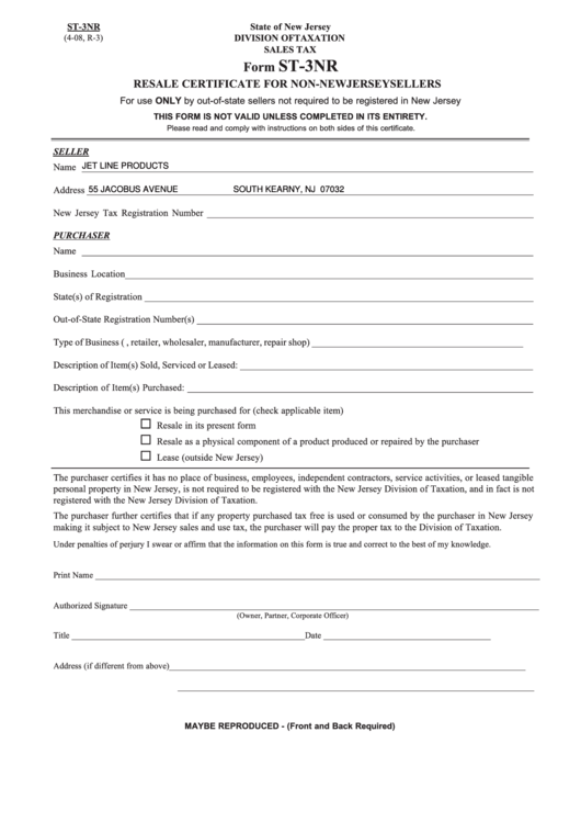 Form St-3nr - Resale Certificate For Non-new Jersey Sellers ...