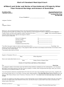 Affidavit And Order And Notice Of Garnishment Of Property Other Than Personal Earnings And Answer Of Garnishee Form