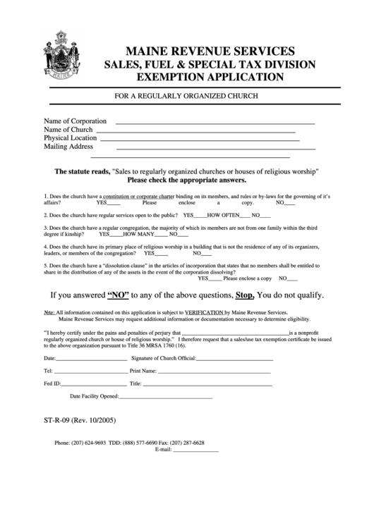 Form St-R-09 - Exemption Application For A Regularly Organized Church Printable pdf