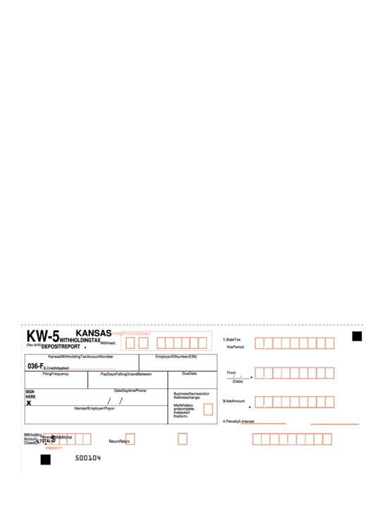 Form Kw-5 - Kansas Withholding Tax Deposit Report - 2005 Printable pdf