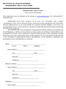 Reception Of Church Member - Membership Application Form